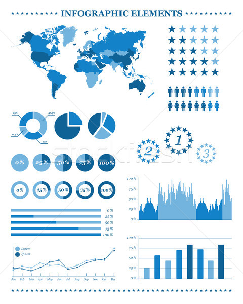 Set of blue infographic elements, demographic and geographic icons, vector illustration for your inf Stock photo © kurkalukas