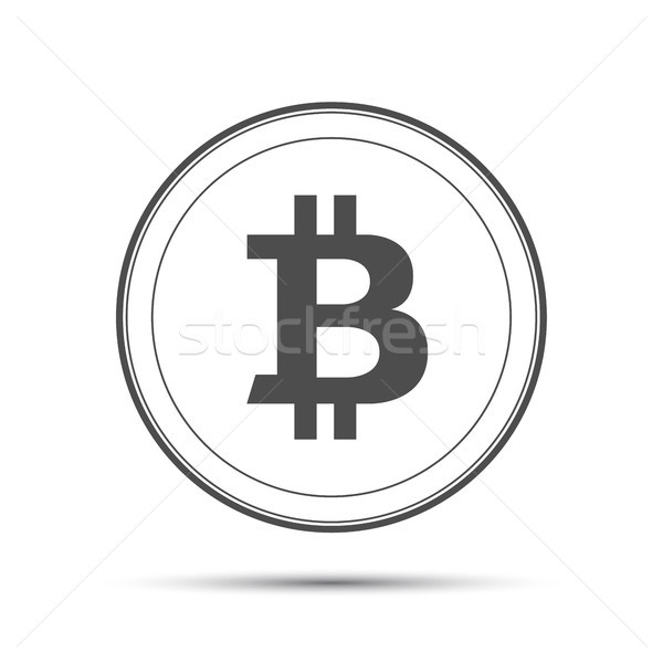 Simple bitcoin icon isolated on white background, grey bitcoin symbol, crypto currency coin, vector  Stock photo © kurkalukas