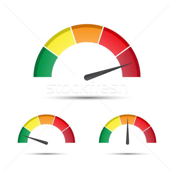 Set of color vector tachometers, flowmeter with indicator in green, orange and red part, speedometer Stock photo © kurkalukas