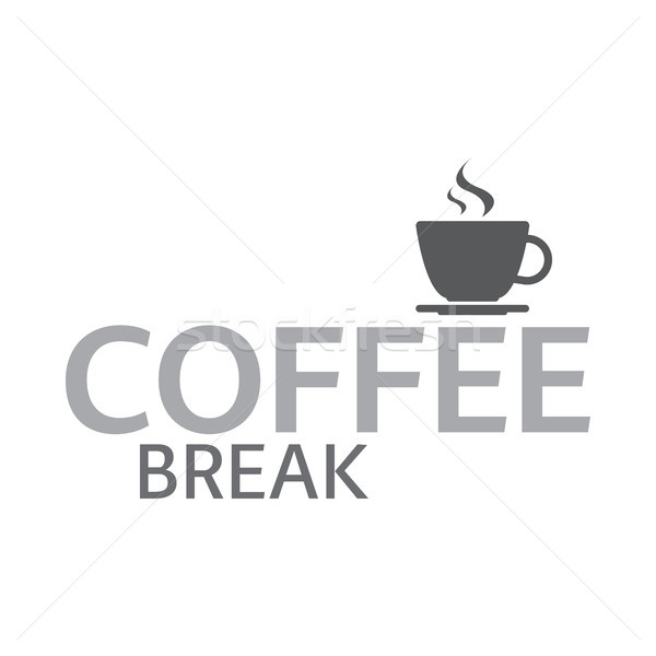 Cup of coffee, coffee break logotype, cup of espresso, vector illustration isolated on white backgro Stock photo © kurkalukas