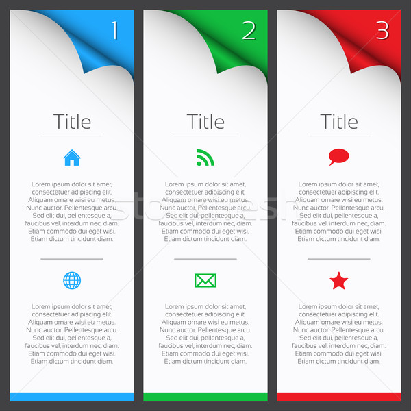 First, second and third vector infographic elements with title, description and icons Stock photo © kurkalukas
