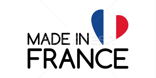Made in France symbol with heart in the colors of the French tricolor Stock photo © kurkalukas