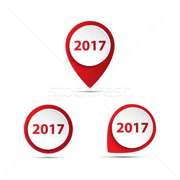 Szett 3D vektor szám új év térkép Stock fotó © kurkalukas