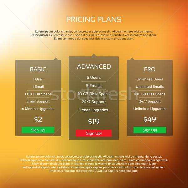 красочный вектора ценообразование таблице три планов Сток-фото © kurkalukas
