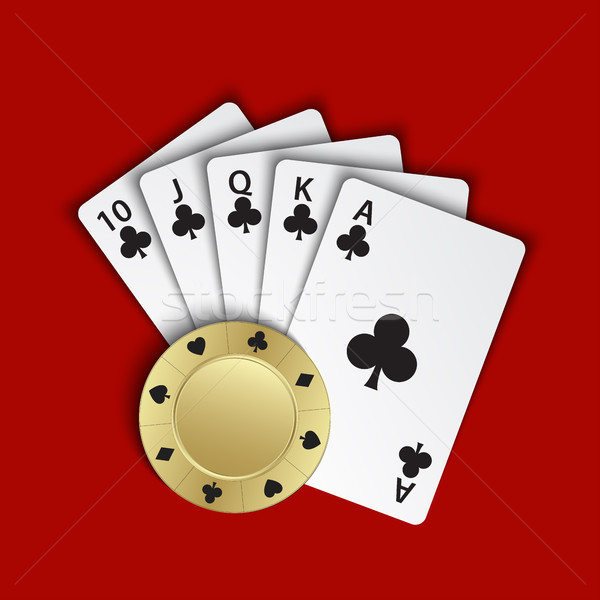 A royal flush of clubs with gold poker chip on red background, winning hands of poker cards, casino  Stock photo © kurkalukas