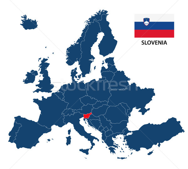 Vector illustration of a map of Europe with highlighted Slovenia and Slovenian flag isolated on a wh Stock photo © kurkalukas