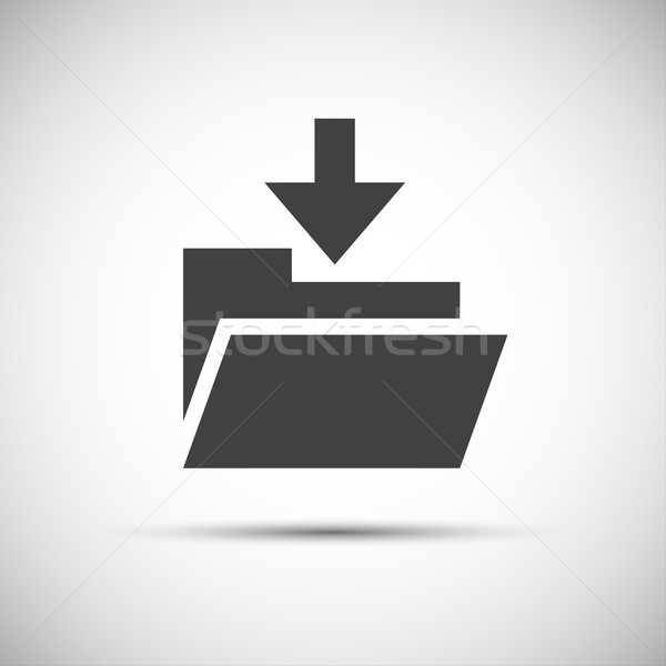 Simple folder with download arrow, vector icon, web button Stock photo © kurkalukas