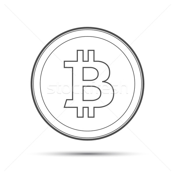 Simple bitcoin icon isolated on white background, crypto currency coin, vector illustration Stock photo © kurkalukas