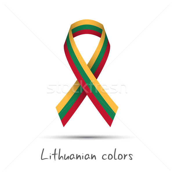 Modern colored vector ribbon with the Lithuanian tricolor isolated on white background, abstract Lit Stock photo © kurkalukas