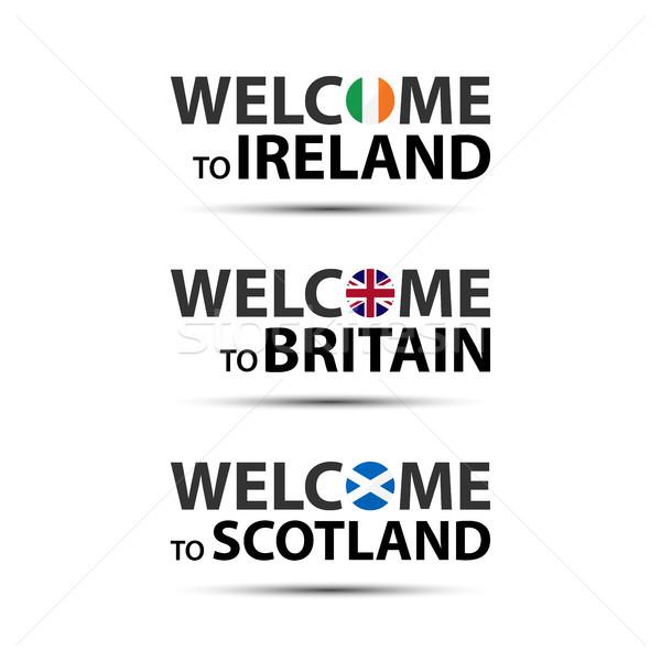 Welkom Ierland groot-brittannië Schotland symbolen vlaggen Stockfoto © kurkalukas