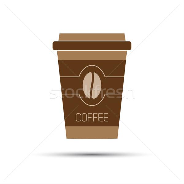 Simples ícone papel copo café grão de café Foto stock © kurkalukas