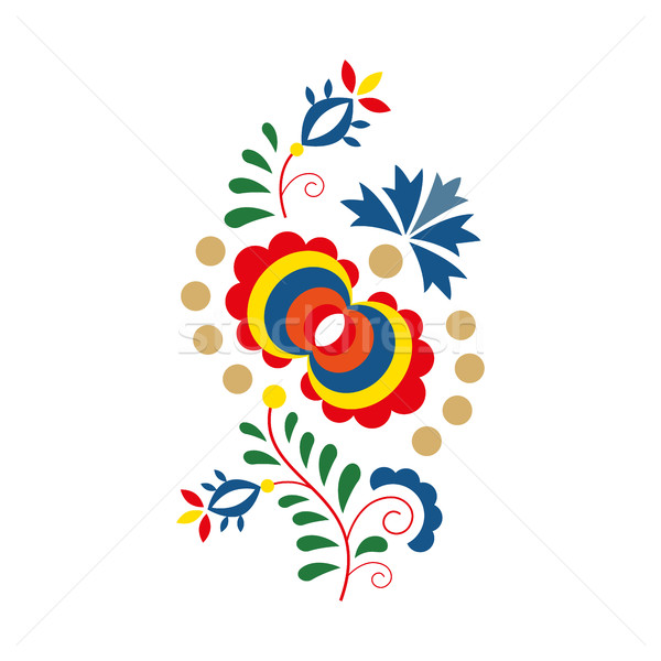 Traditional folk ornament and pattern, floral embroidery symbol  Stock photo © kurkalukas