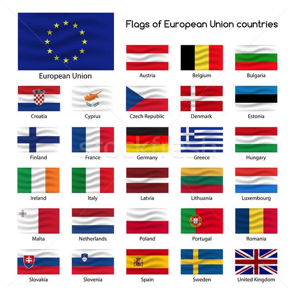 Stockfoto: Ingesteld · vlaggen · europese · unie · landen · lid