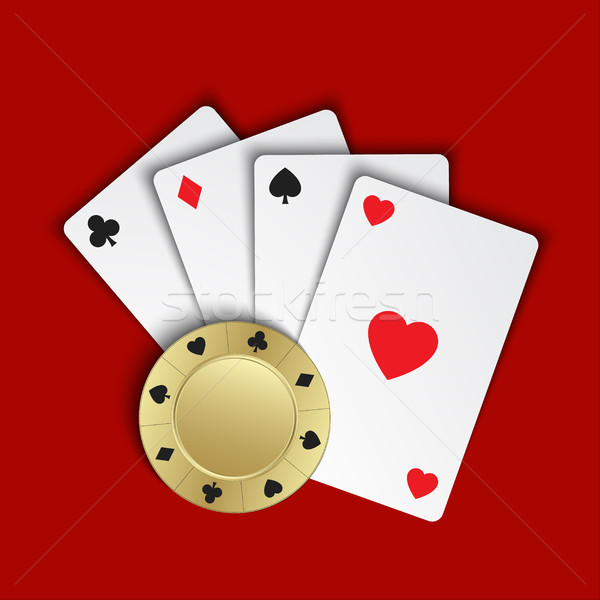 Set of simple playing cards with casino chips on red background, Stock photo © kurkalukas