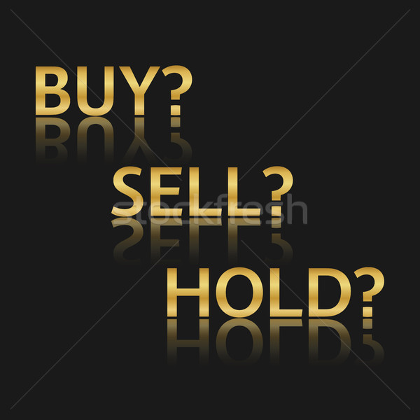 Golden vector trade icons, stock market options, three business variants, buy, sell, hold, sales sym Stock photo © kurkalukas