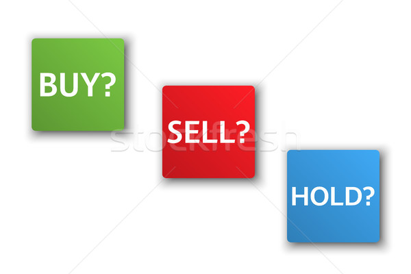 Stock market options, three business variants, buy, sell, hold, sales trade buttons isolated on whit Stock photo © kurkalukas