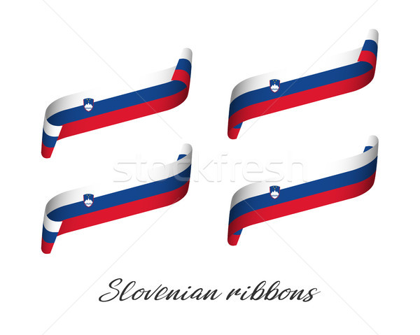 Set of four modern colored vector ribbons with Slovenian tricolor isolated on white background, flag Stock photo © kurkalukas