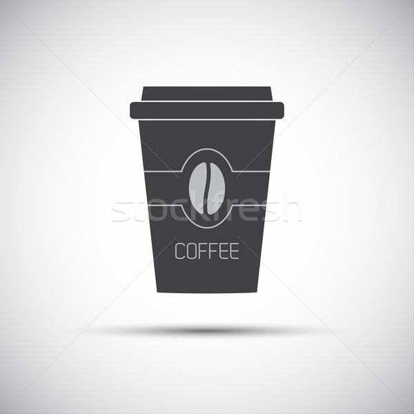 Simple icône papier tasse café grain de café Photo stock © kurkalukas