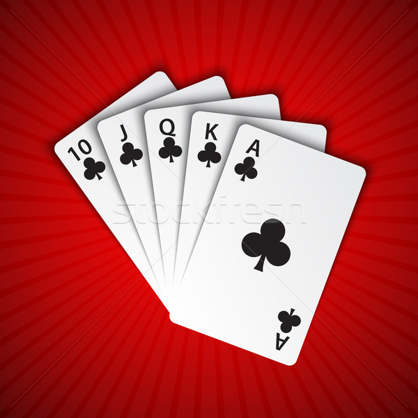 A royal flush of clubs on red background, winning hands of poker cards, casino playing cards  Stock photo © kurkalukas