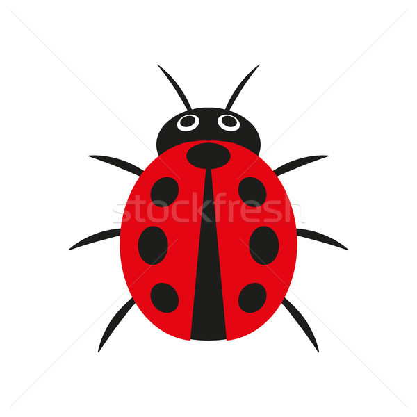 Simple vector illustration of red ladybug isolated on a white background Stock photo © kurkalukas