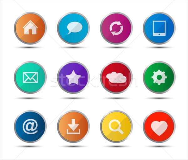 Set of colored navigation web icons on white background Stock photo © kurkalukas