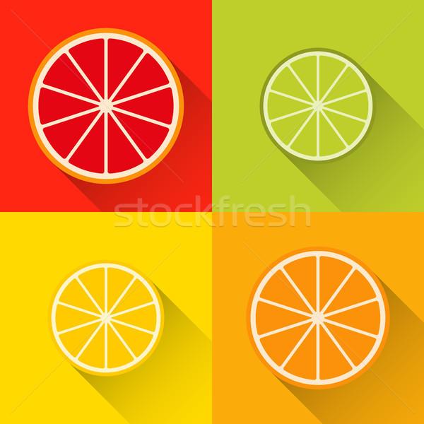 コレクション 柑橘類 スライス アイコン グレープフルーツ 石灰 ストックフォト © kurkalukas