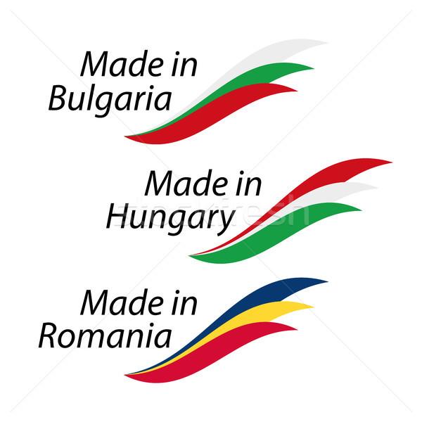 Simples logos Bulgária Hungria Romênia vetor Foto stock © kurkalukas