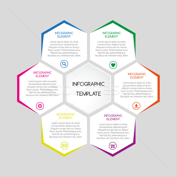 Stock photo: Vector infographic template with hexagons with text for your bus