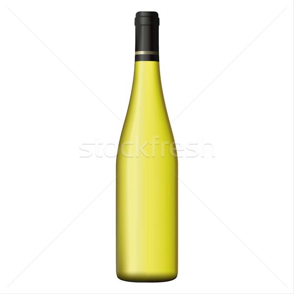 Witte wijn fles geïsoleerd witte realistisch vector glas Stockfoto © kurkalukas
