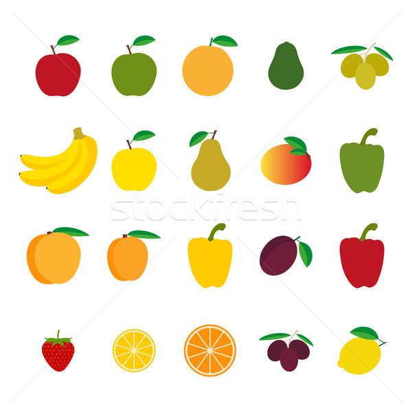 набор фрукты овощей красочный яблоко дизайна Сток-фото © kurkalukas