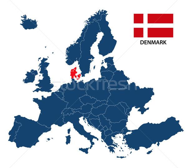 Mapa europa Dinamarca bandeira isolado branco Foto stock © kurkalukas