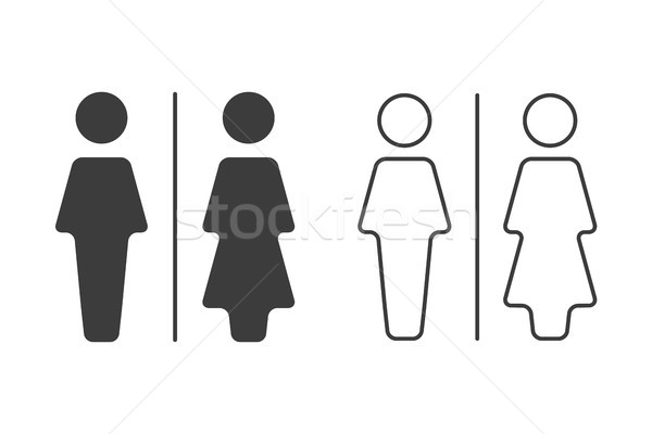 Simple grey and white wc symbols, vector restroom illustration, man and woman icons isolated on a wh Stock photo © kurkalukas