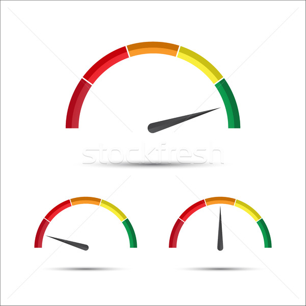 Set of simple vector tachometers with indicator in green, yellow Stock photo © kurkalukas