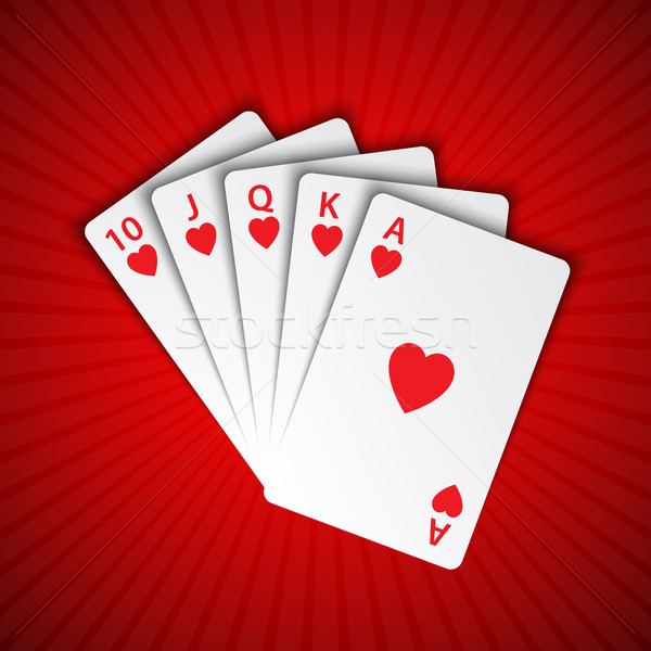 A royal flush of hearts on red background, winning hands of poker cards, casino playing cards Stock photo © kurkalukas