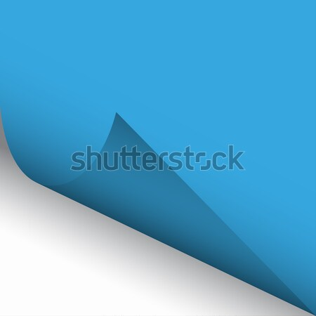 Curled corner of blue paper with shadow with a white background Stock photo © kurkalukas