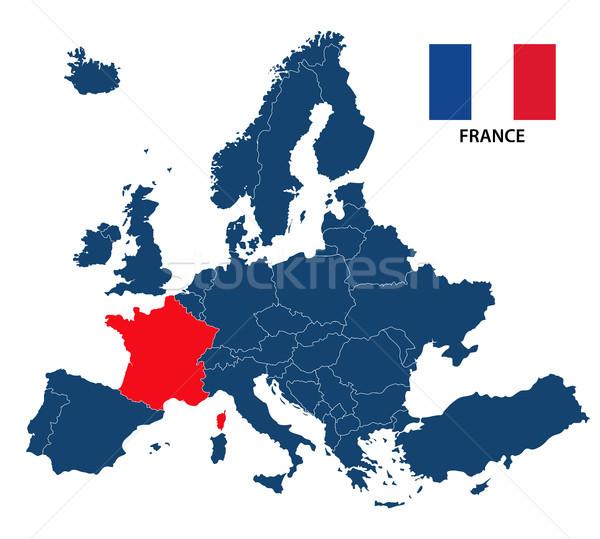 Photo stock: Carte · Europe · France · français · pavillon · isolé