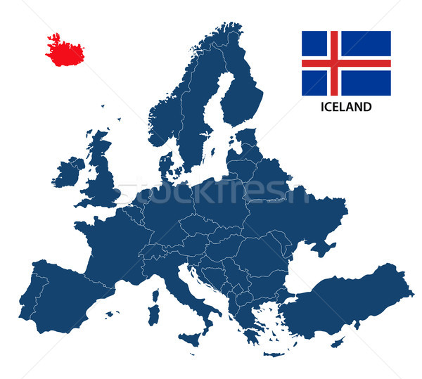 Vector illustration of a map of Europe with highlighted Iceland and Icelandic flag isolated on a whi Stock photo © kurkalukas