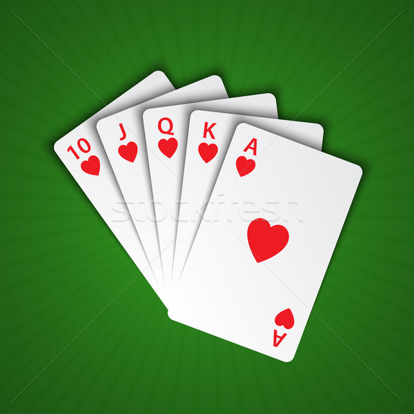 A royal flush of hearts on green background, winning hands of poker cards, casino playing cards Stock photo © kurkalukas