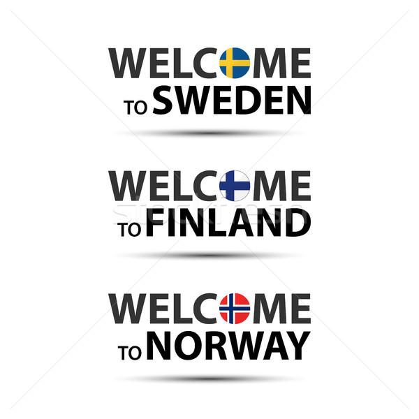 Foto stock: Bienvenida · Suecia · Finlandia · Noruega · símbolos · banderas