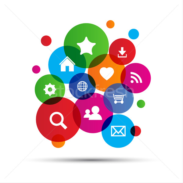 Web navigation icônes coloré ordinateur mail Photo stock © kurkalukas