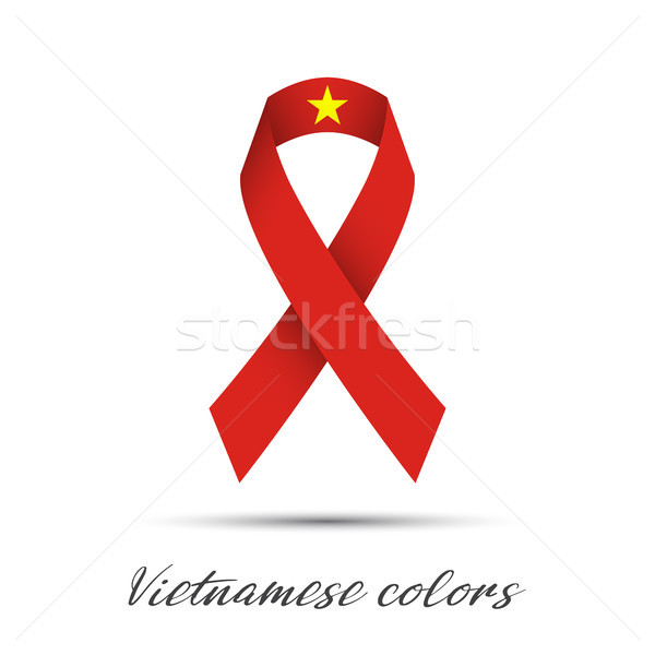 Stock photo: Modern colored vector ribbon with the Vietnamese colors isolated on white background, abstract Vietn