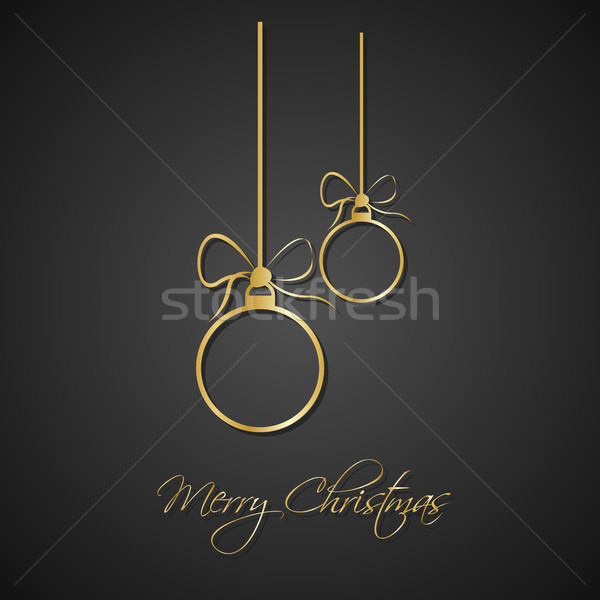 Stock photo: Modern simple golden christmas balls with bow on black background, holiday greeting card with merry