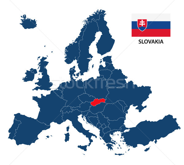 Vector illustration of a map of Europe with highlighted Slovakia and Slovak flag isolated on a white Stock photo © kurkalukas
