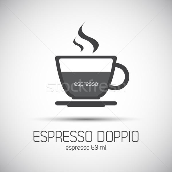 Beker espresso eenvoudige vector icon kunst Stockfoto © kurkalukas