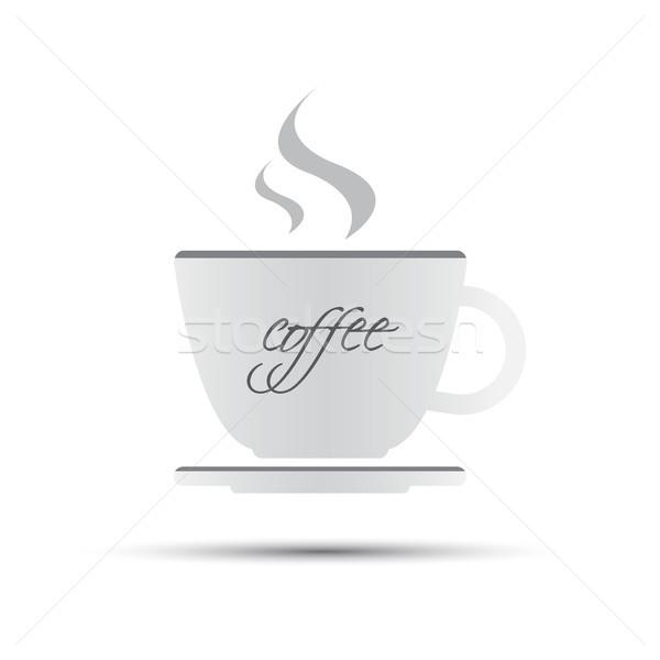 Eenvoudige witte beker thee opschrift geïsoleerd Stockfoto © kurkalukas