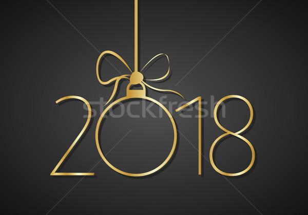 с Новым годом золото числа черный аннотация свет Сток-фото © kurkalukas