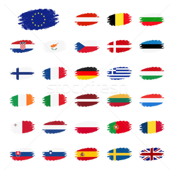 Set of flags of the European Union countries, flag in apperance streaks, set grunge flags, vector il Stock photo © kurkalukas