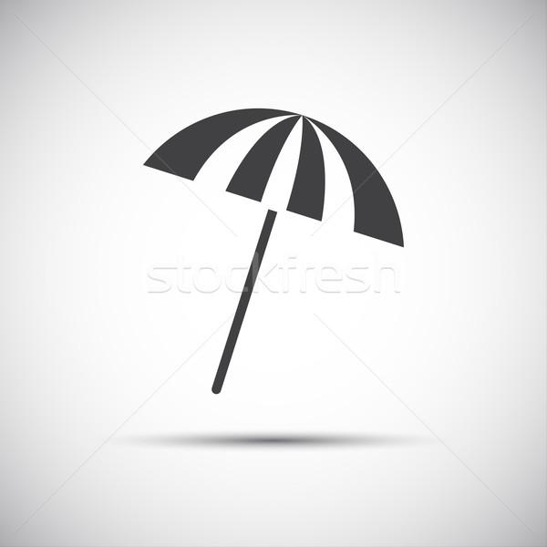 Einfache grau Sonnenschirm Symbole Strand Sonne Stock foto © kurkalukas