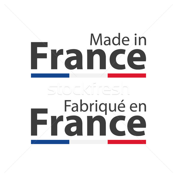 Two simple vector symbols Made in France, signs with the French tricolor isolated on white backgroun Stock photo © kurkalukas