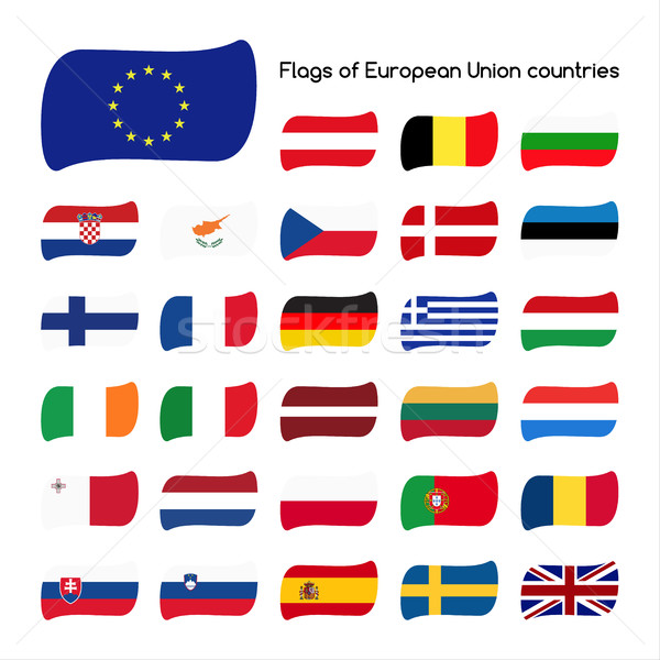 Set the flags of European Union countries, member states in 2016 Stock photo © kurkalukas
